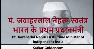पं. जवाहरलाल नेहरू स्वतंत्र भारत के प्रथम प्रधानमंत्री