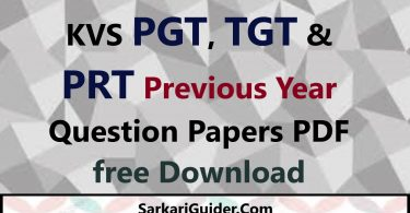 KVS PGT, TGT & PRT Previous Year Question Papers PDF Download