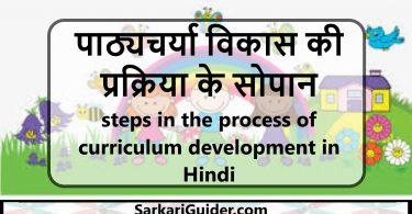 पाठ्यचर्या विकास की प्रक्रिया के सोपान